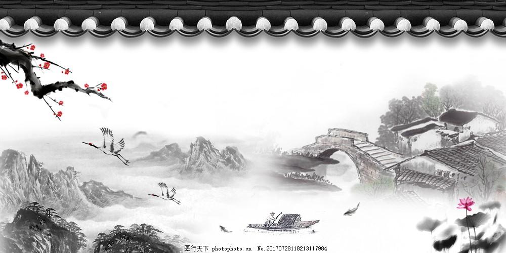 古风梅花桥鹤主题背景素材 古风背景 水墨素材 荷花 船 水墨背景
