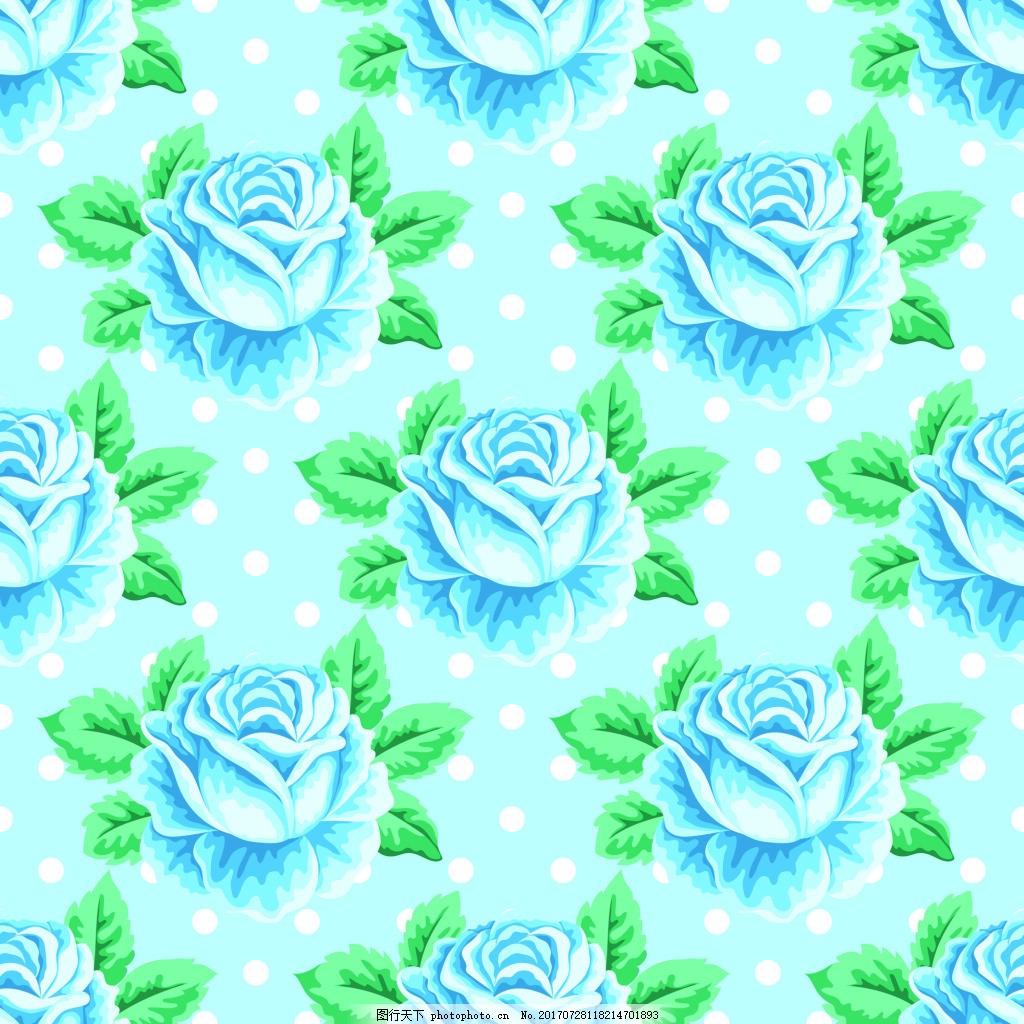 手绘蓝色玫瑰花蕾丝矢量背景 波点 花朵 可爱 卡通 平面设计素材 填充