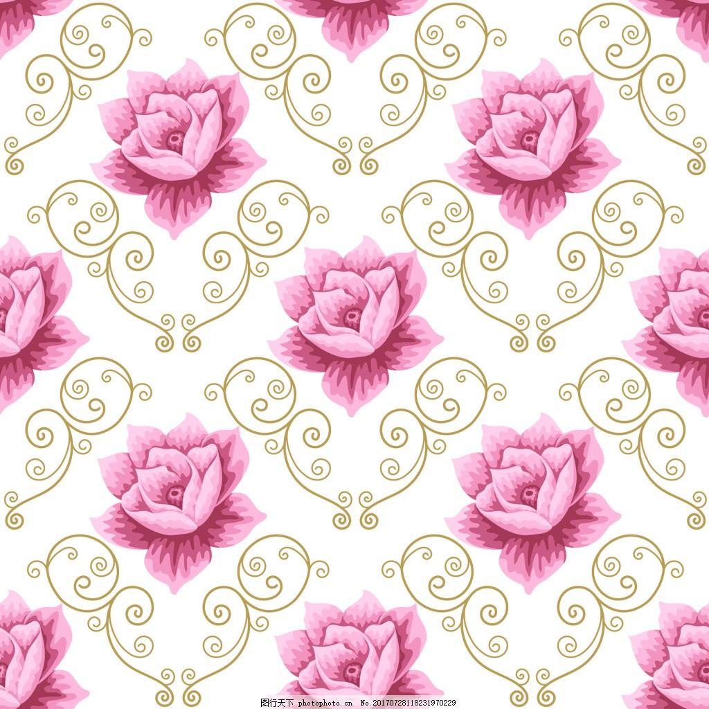 粉红色荷花蕾丝矢量背景 莲花 爱情 可爱 卡通 平面设计素材 填充背景