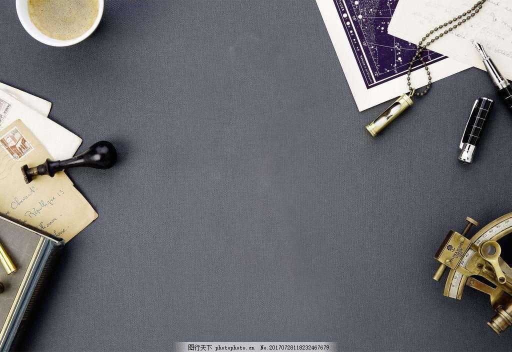 简约现代咖啡办公桌背景 时尚 灰色背景 下午茶 杂志
