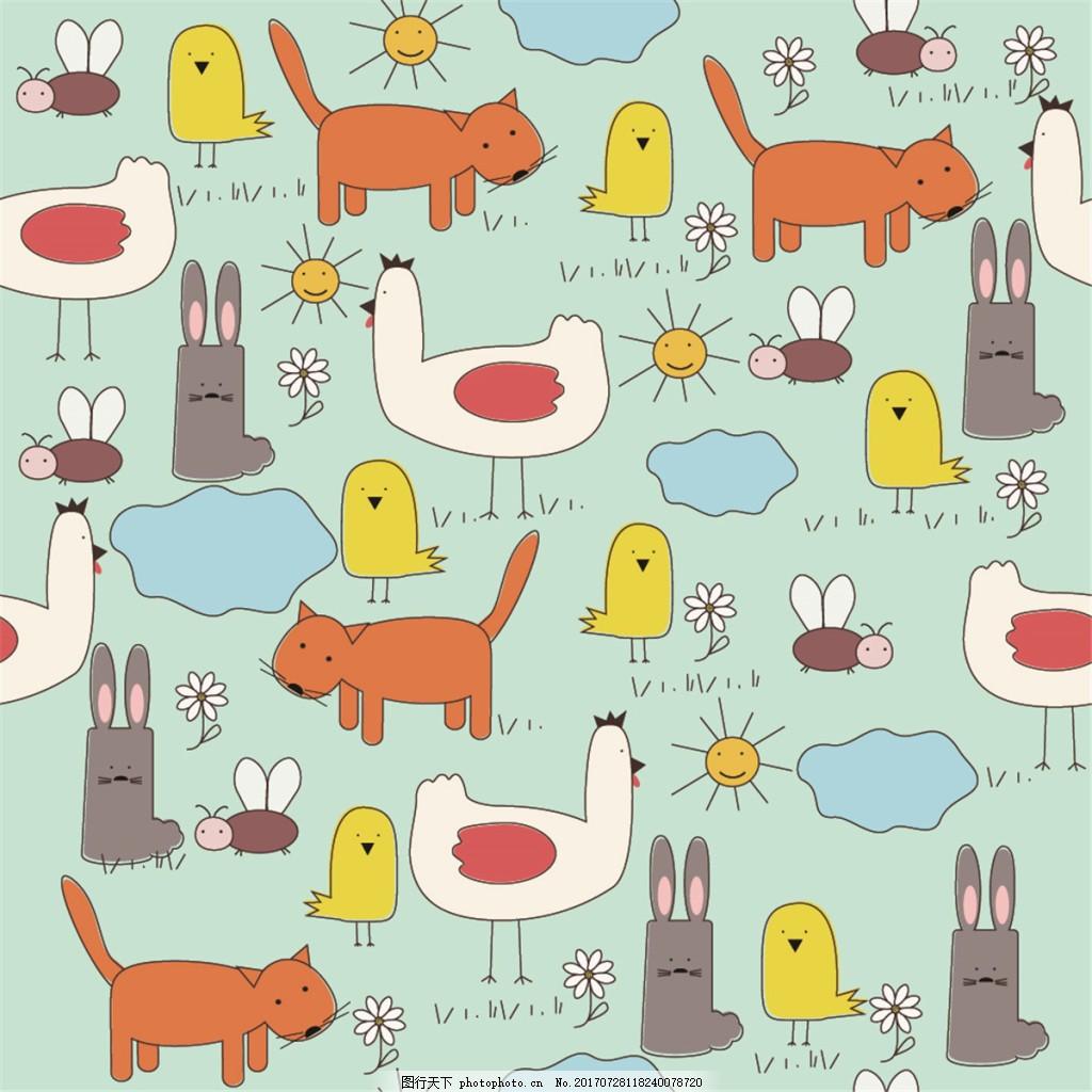 手绘彩色动物背景图 广告设计 广告背景图 背景图片下载 矢量背景图