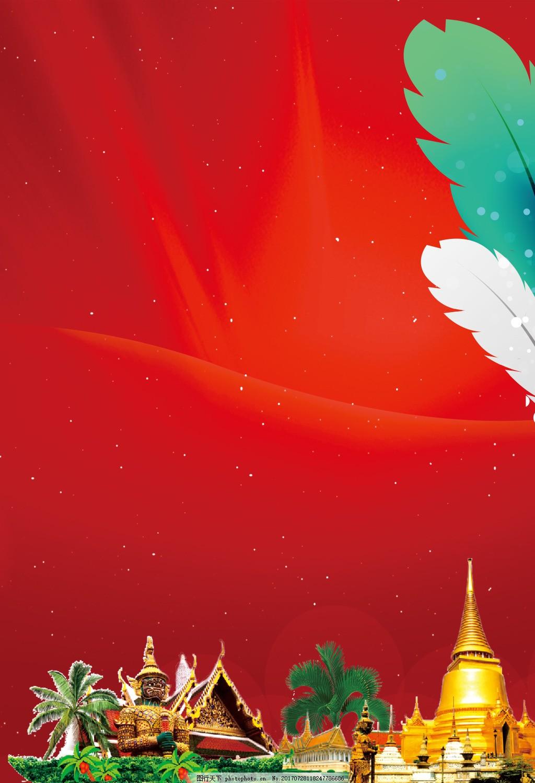 金色泰国佛像背景 红色背景 羽毛 人文风景 金色大佛像 寺庙