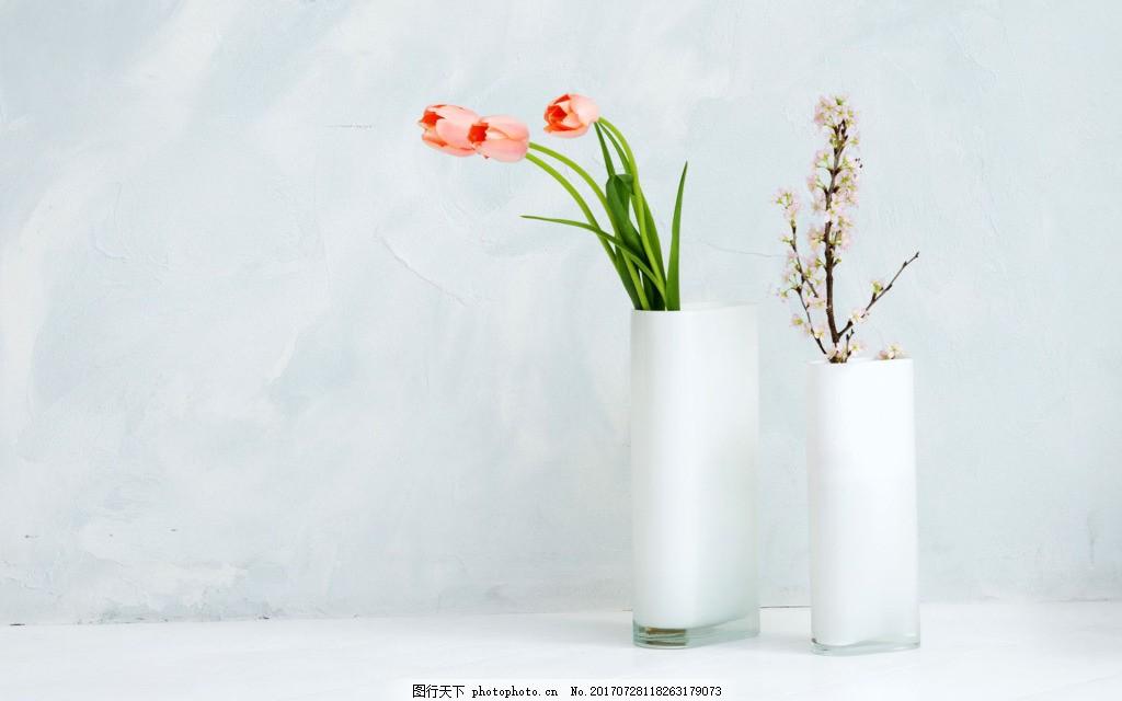 简约装饰花瓶灰蓝背景 大气 室内装修 白色花瓶 插花 灰蓝背景墙