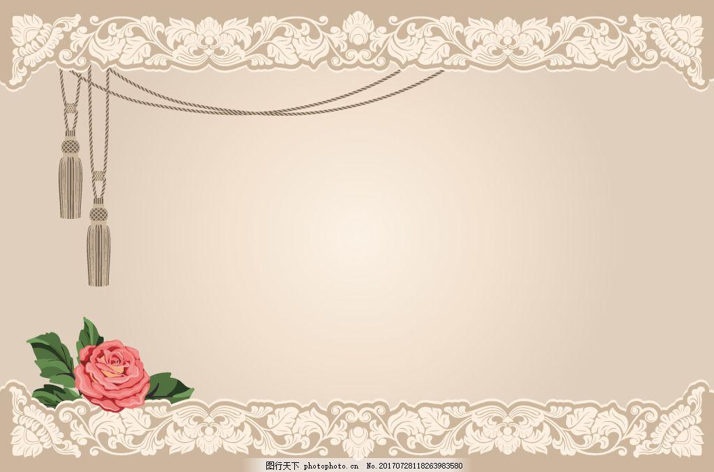 简约香槟色花纹边框背景 吊坠 月季花 底纹 海报