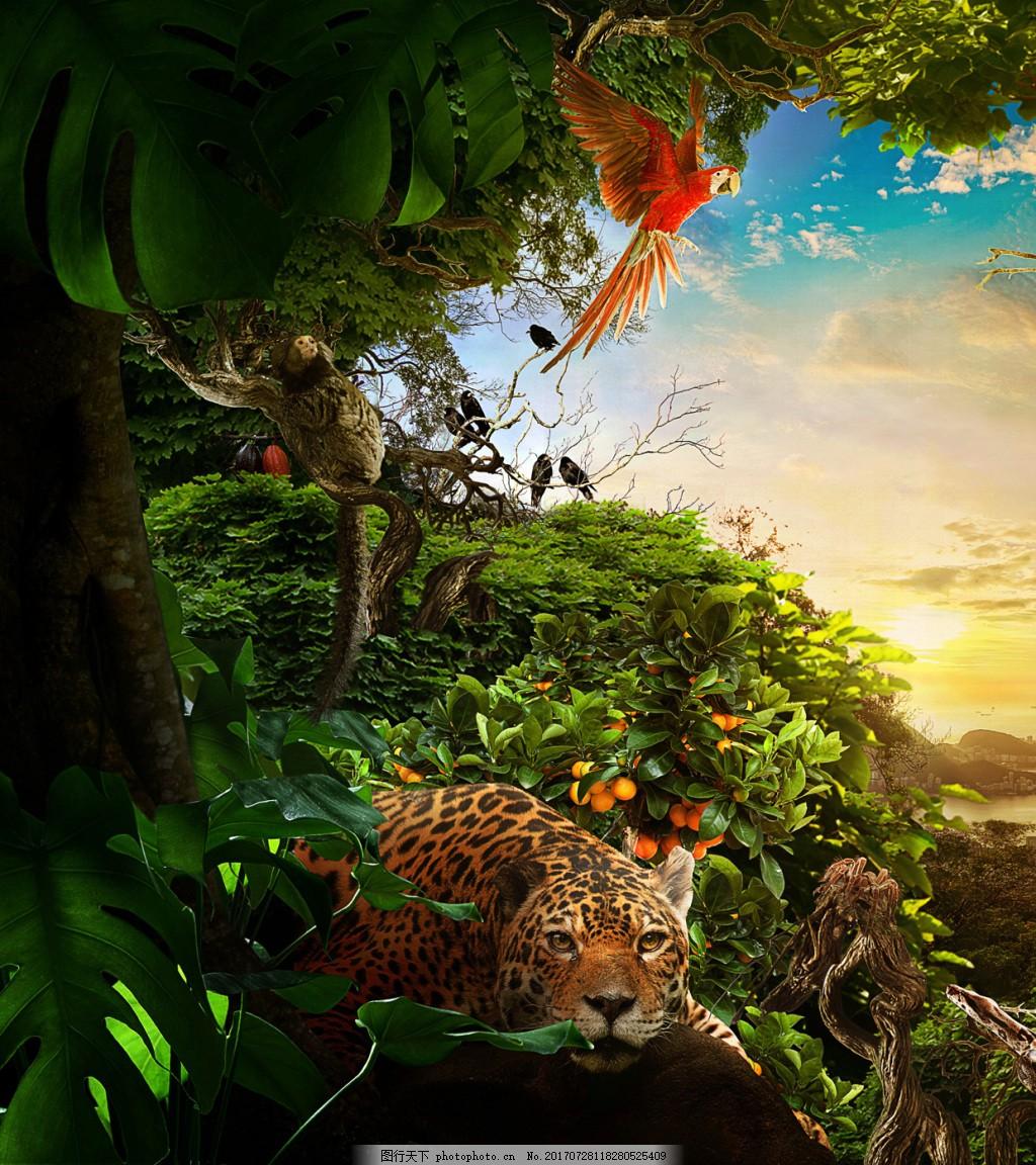 梦幻绿色森林老虎背景 梦幻 小清新 日出 阳光 绿色森林 老虎 红色