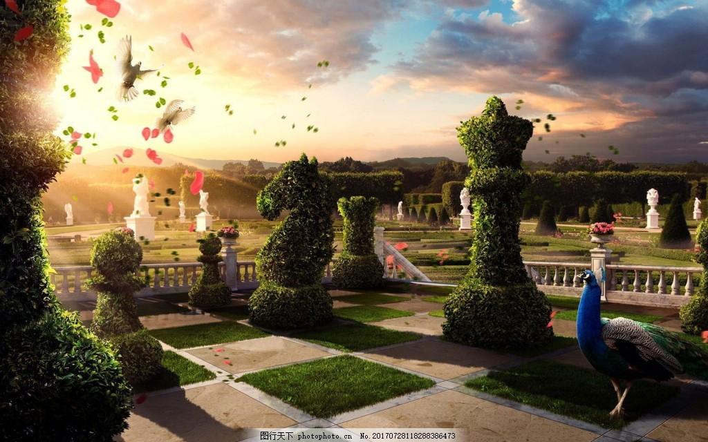 梦幻欧美风景公园背景 小清新 园艺 花样剪枝 花园 阳光 背景素材