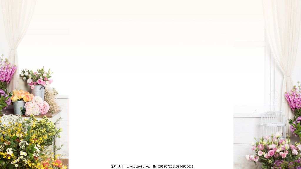 简约温馨花店背景 简约 飘逸 白色窗纱 室内装饰 花店 花朵 温馨 广告