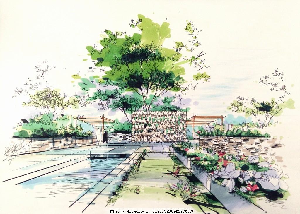 公园设计 手绘 效果图 林园设计