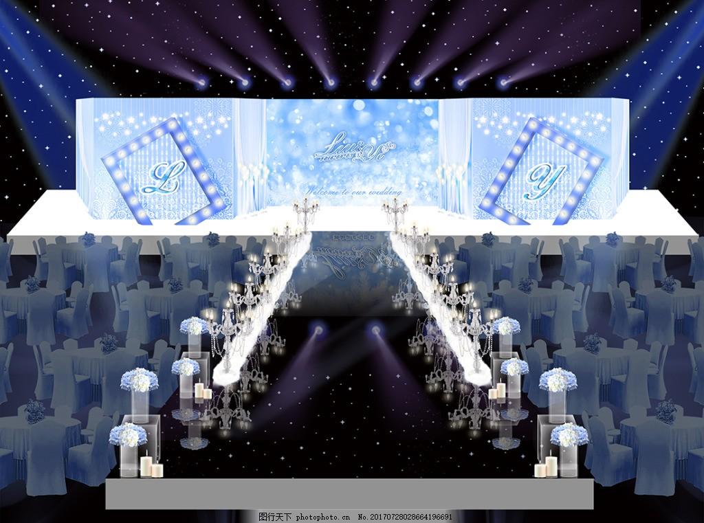 天藍色素雅婚禮舞臺婚禮效果圖圖片 天藍舞臺圖片 唯美圖片 浪漫圖片 典雅圖片 燈光圖片