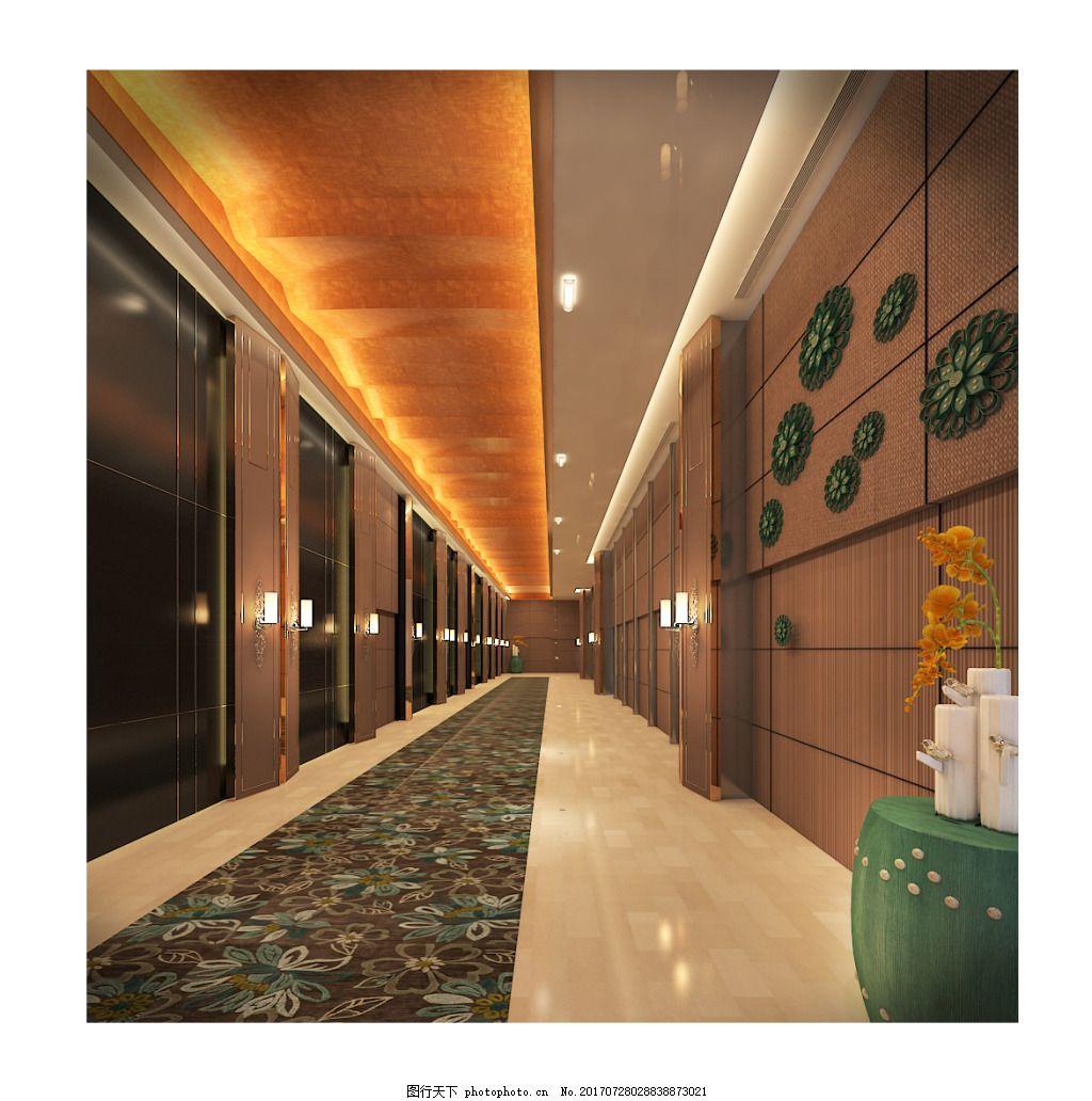 走廊美容养生会所工装设计效果图 新 中式 工装效果图 酒店走廊效果图