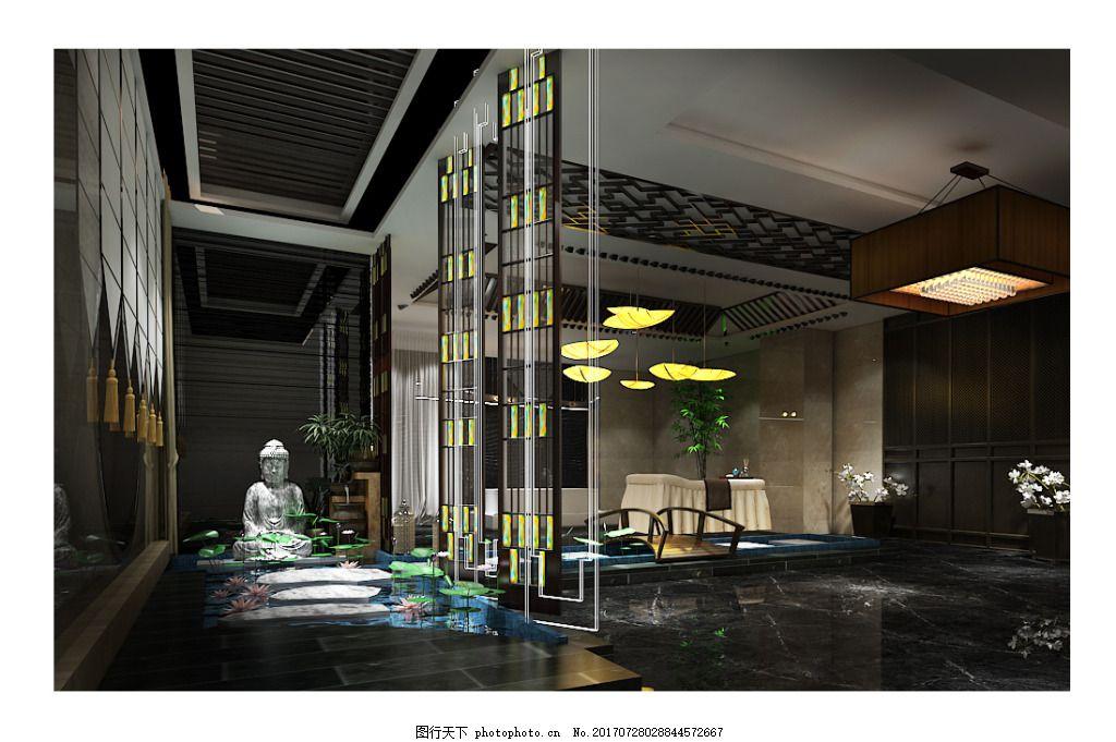 室内工装设计SPA室效果图 新 中式 美容 养生 会所 工装效果图