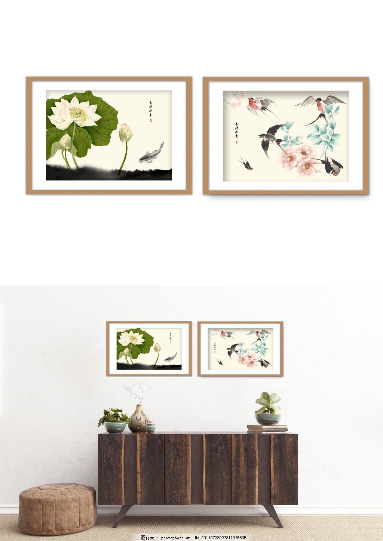 中国风水墨荷花鸟淡雅装饰画 现代简约 双拼 客厅无框画 无框画图片
