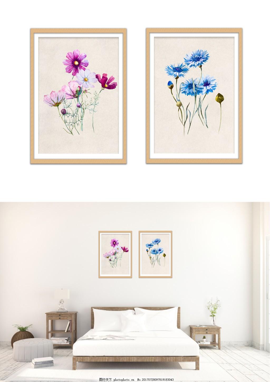 现代淡雅手绘雏菊花装饰画无框画 客厅无框画 无框画图片 风景装饰画