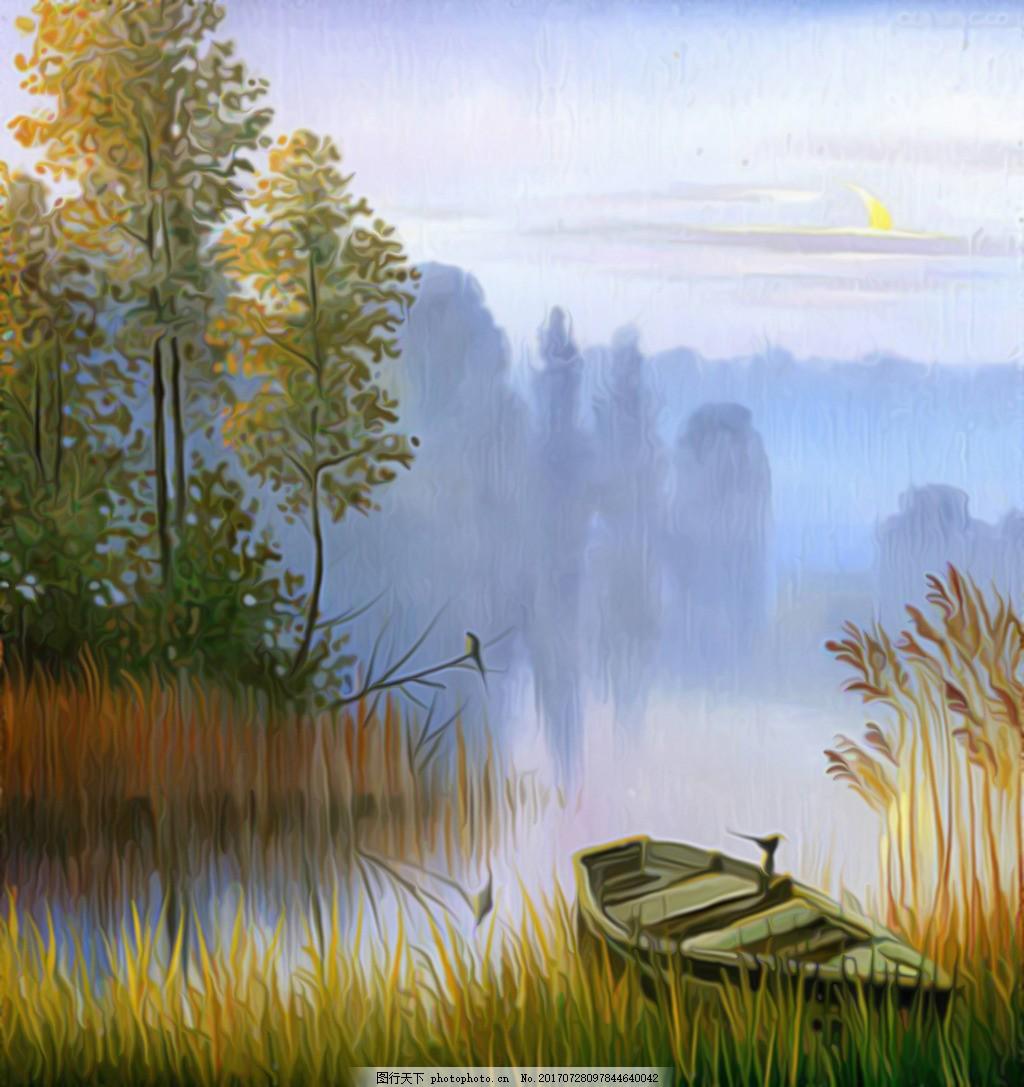 河边风景油画装饰画素材 山 树林 湖 小船