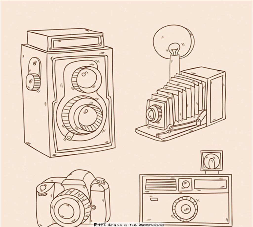 手绘老相机插图