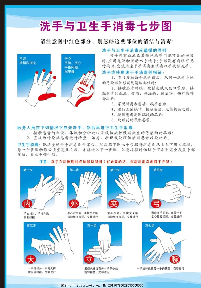 医院手消毒 消毒七步图 医院洗手步骤 消毒步骤 手消毒步骤