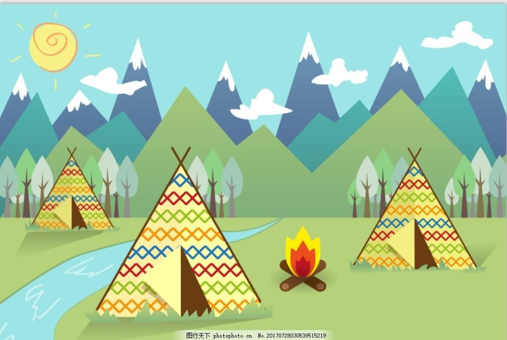 少儿手绘儿童插画矢量图 色块 彩色山 手绘颜色块 山 可爱 矢量 小鸟