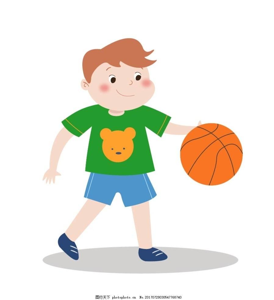 打篮球 动漫卡通 可爱 插画 儿童绘本 儿童画画 矢量图 卡通漫画 贴纸