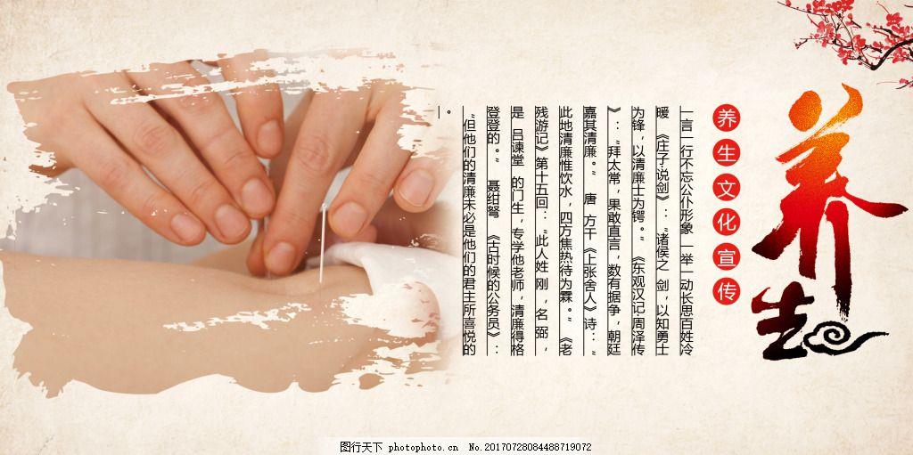针灸中医疗法养生展板 中医文化 梅花 中国风 水墨
