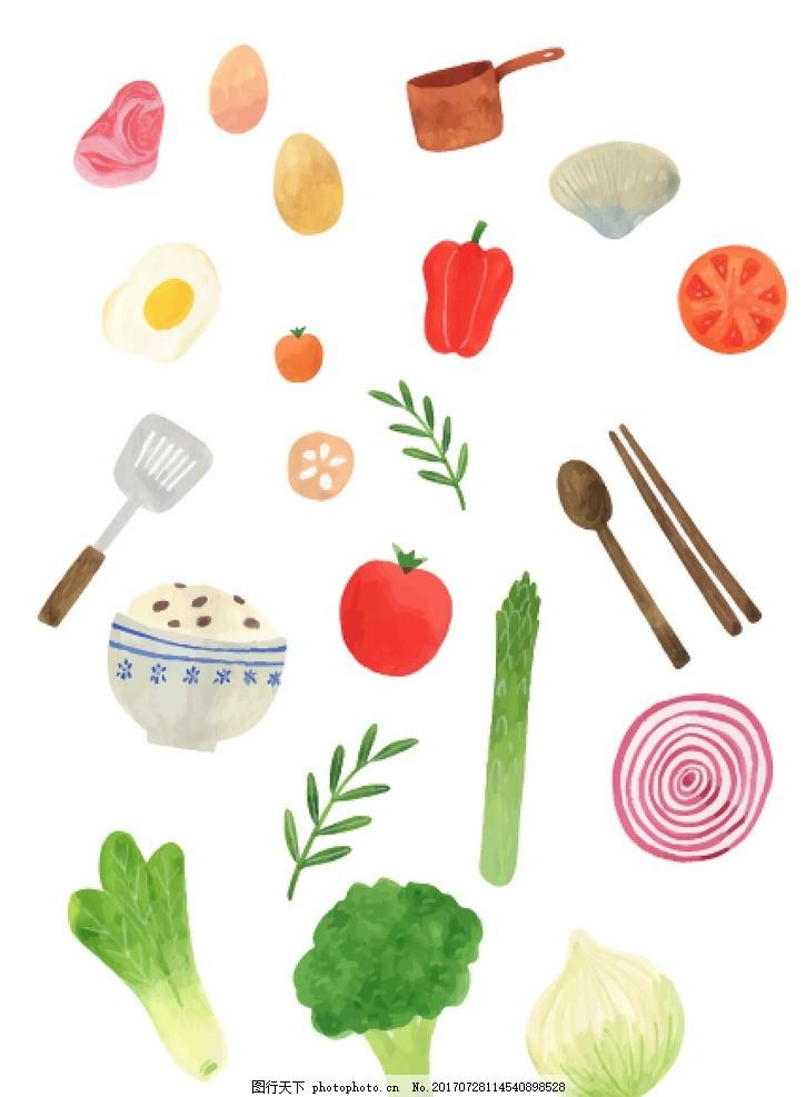 手绘蔬菜食材餐具厨具 手绘 蔬菜 食材 餐具 厨具 餐饮 可爱 水彩