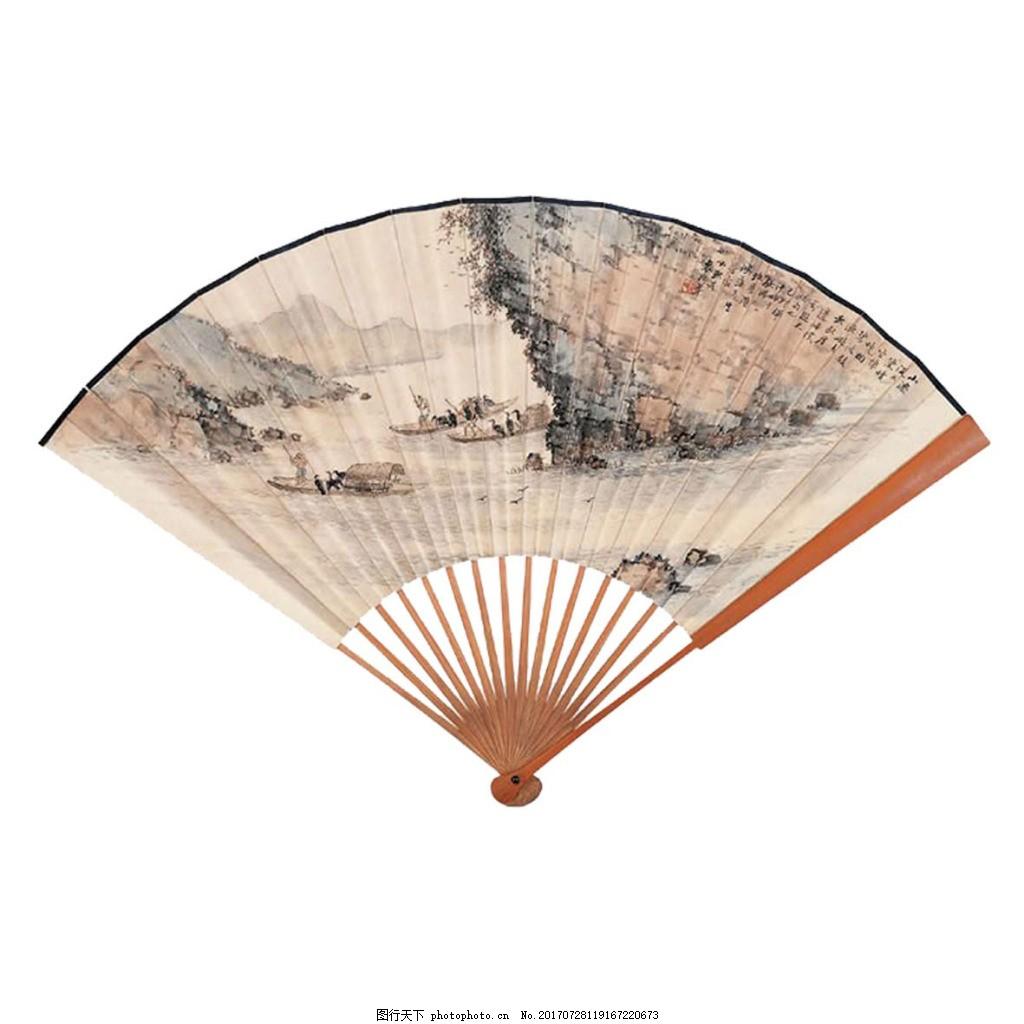 复古扇子png免扣元素 中国风 水墨风景 透明