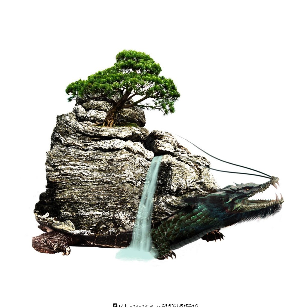 中国风风景png免扣元素 石景 流水 松树 假山 透明