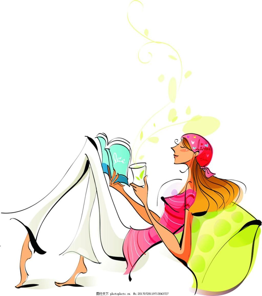 喝下午茶的女士png免扣元素 看书 休闲 卡通 手绘 透明