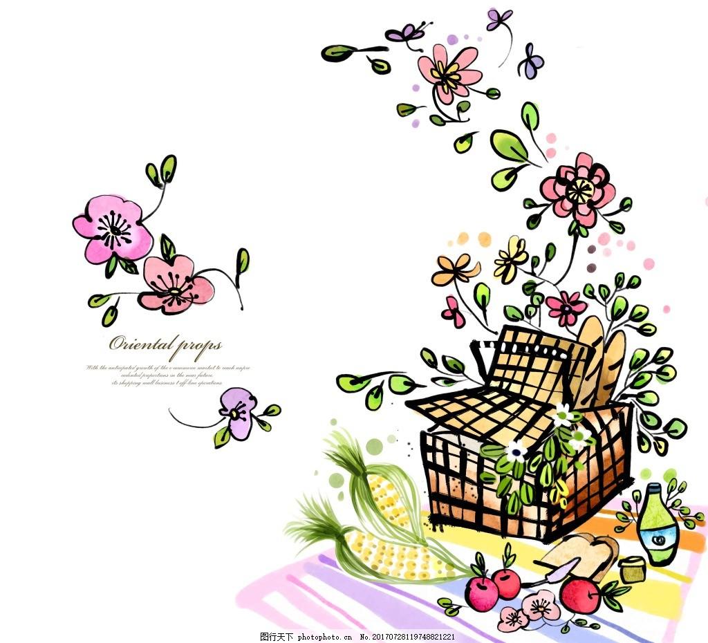 手绘时尚花朵图案 涂鸦 手绘 时尚 花朵 野餐 图案 蝴蝶