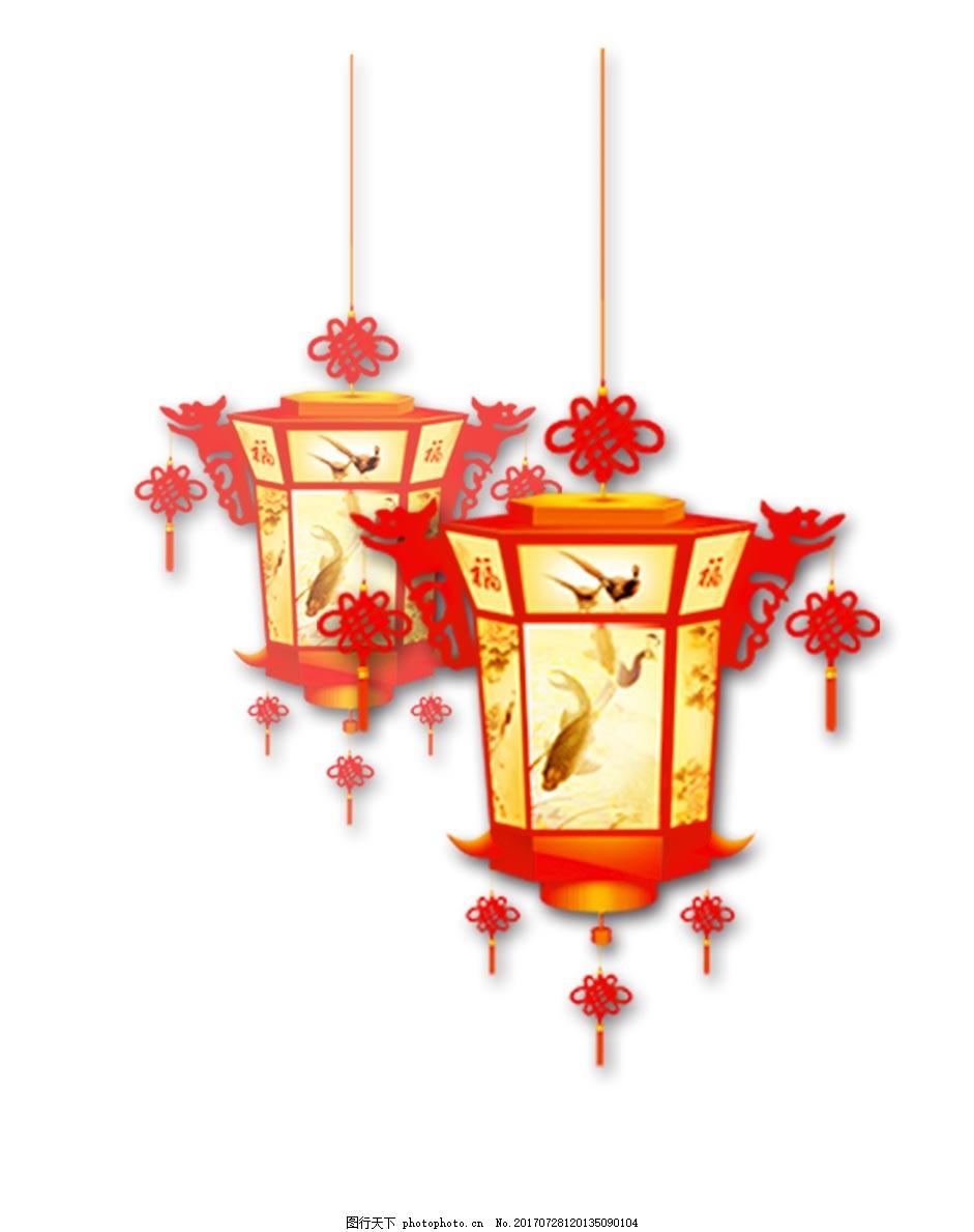 手绘中国式灯笼元素
