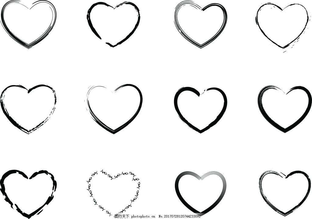 无花纹爱心边框矢量素材 简单 黑色 下载 节日装饰 纹理 平面设计素材
