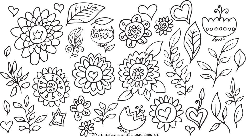 黑白线条花朵树叶桂冠矢量插画