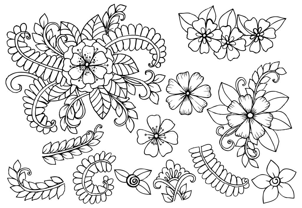 线条花朵树叶插画设计装饰素材 花纹 纹理 图案 绘画 矢量素材