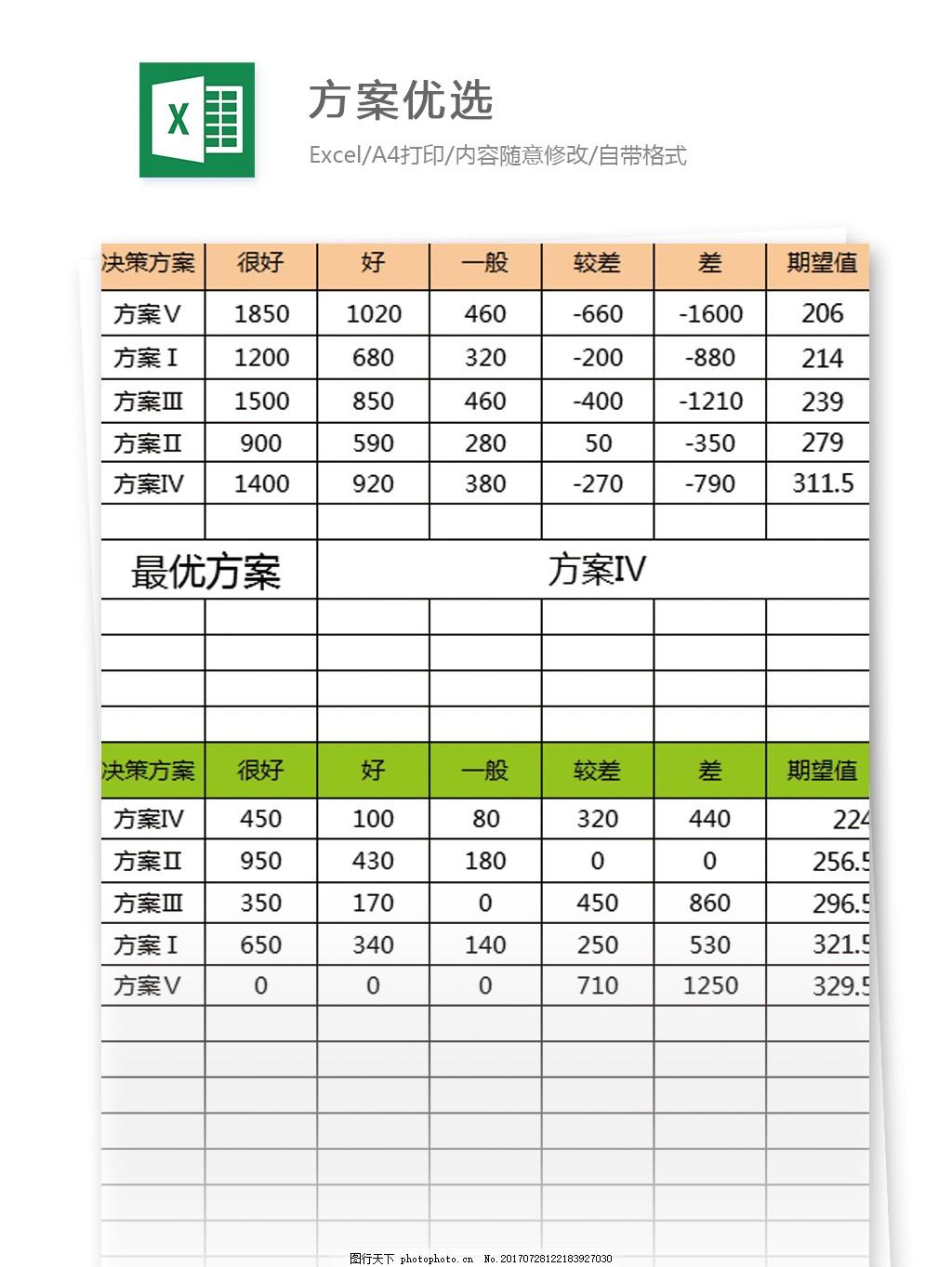 方案优选excel模板表格 表格模板 图表 表格设计