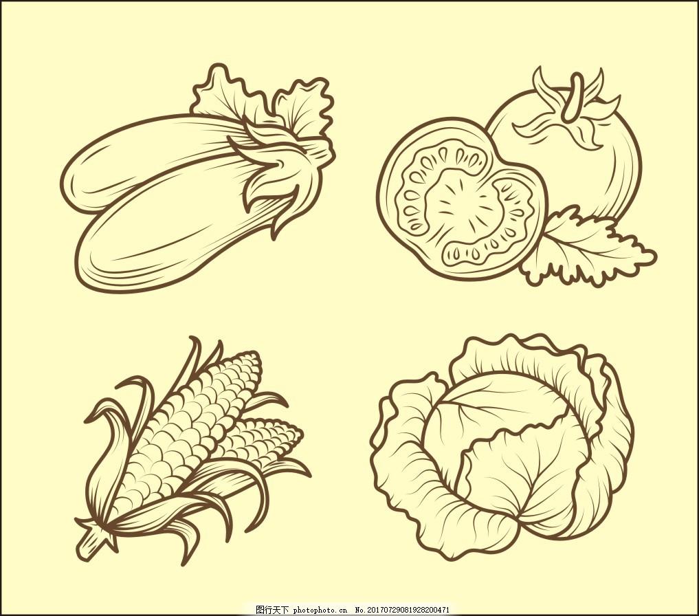 手绘黑白蔬菜插画