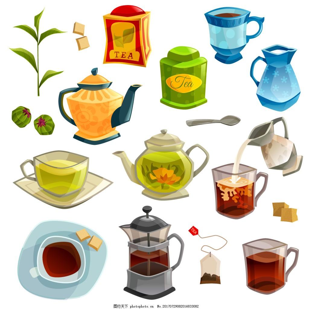 时尚下午杯元素插画 茶叶 茶壶 杯子 红茶 花茶 咖啡 茶叶包