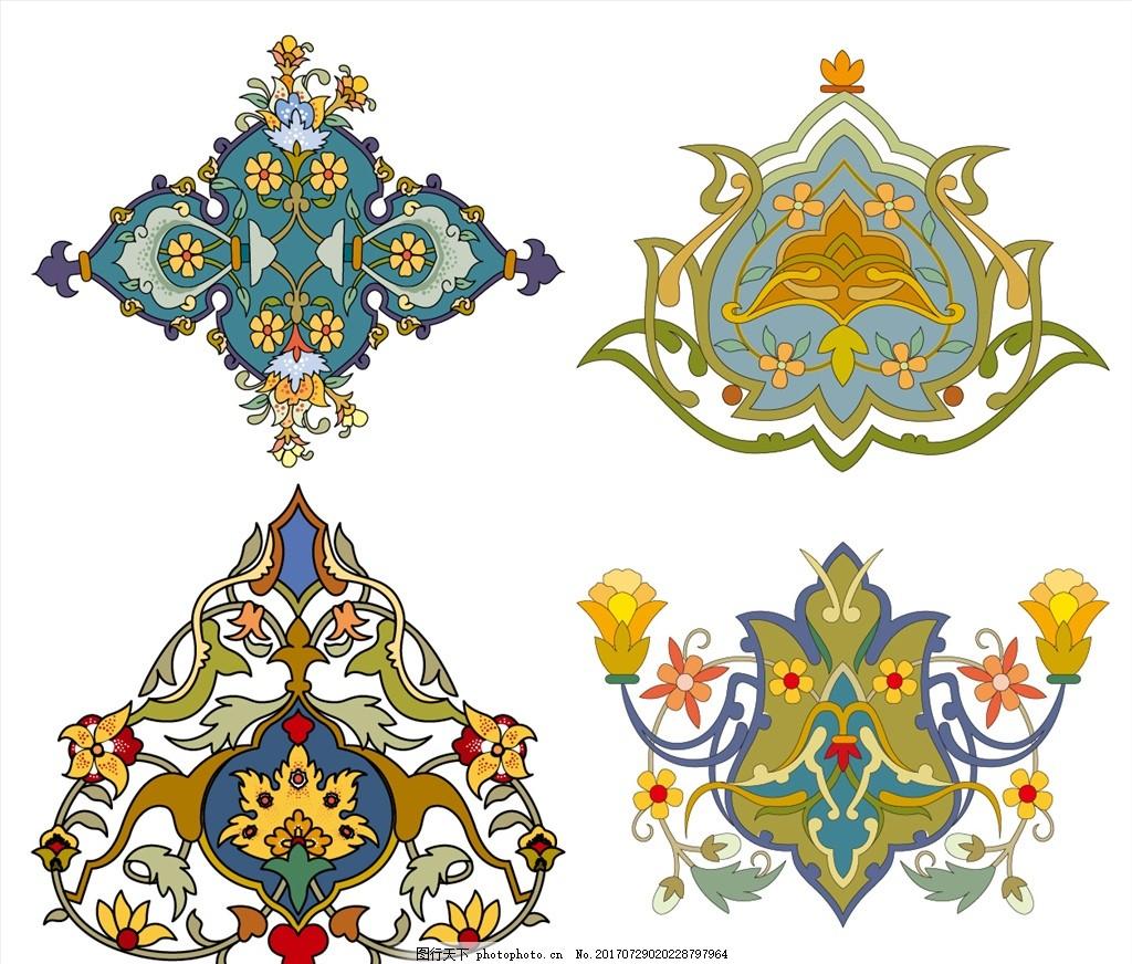时尚矢量花纹花边元素 家纺四件套 欧式花纹 四方连续 定位印花
