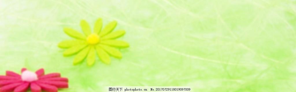 绿色花朵banner背景图 淘宝首页 唯美背景 温馨背景 渐变背景