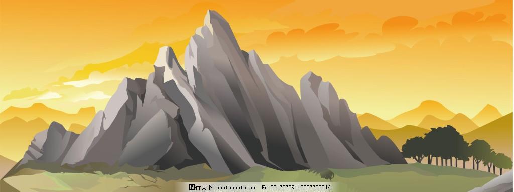 黄色石山风景banner背景 背景图 唯美背景 淘宝海报 背景素材