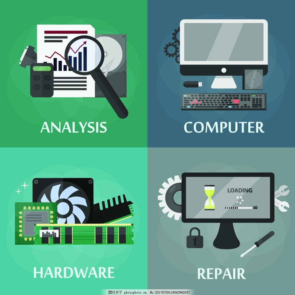 放大镜扁平化高新科技产品宣传 教鞭 计算机 电脑 趋势 源文件