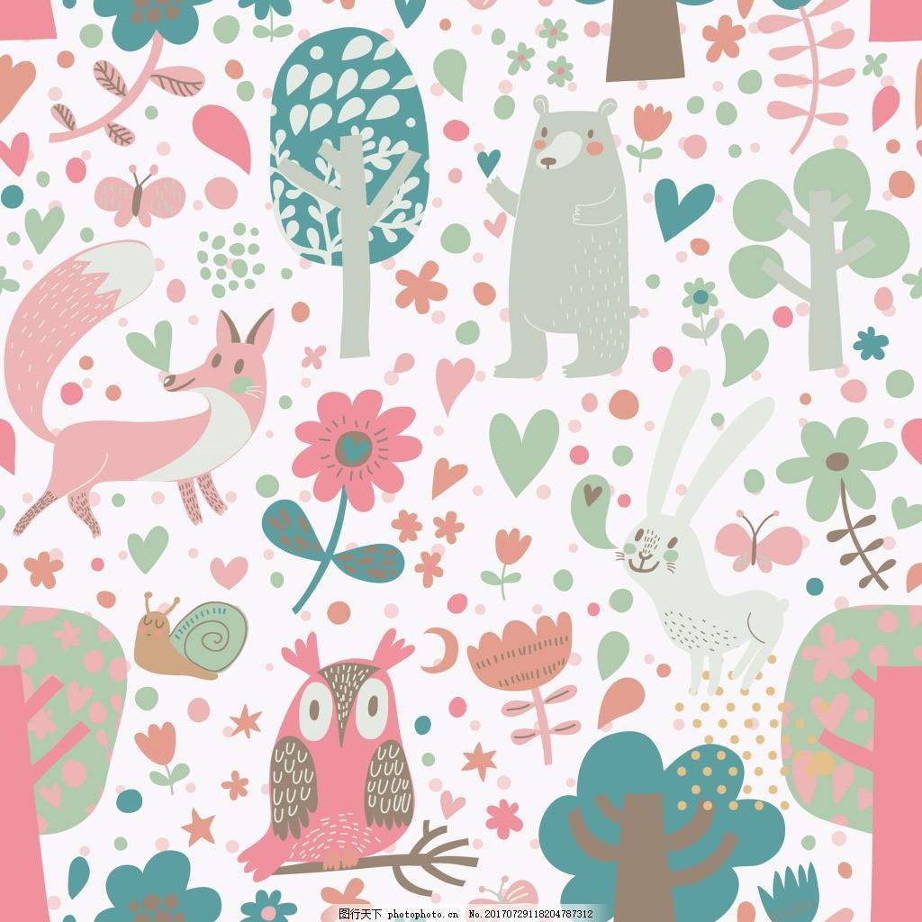 狐狸猫头鹰动物图案矢量素材 森林 卡通 可爱 平面设计素材 填充背景