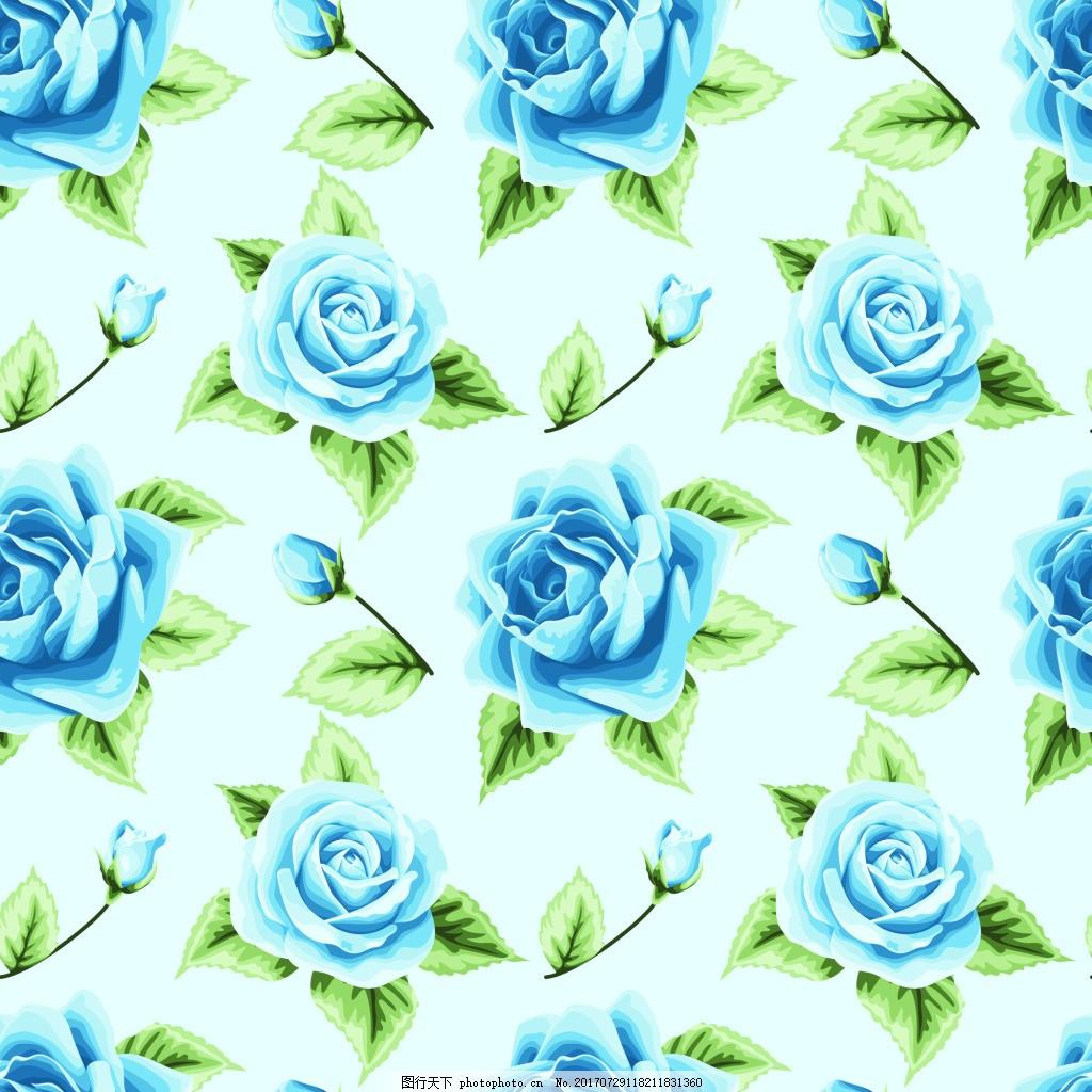 蓝色玫瑰花蕾丝矢量背景 手绘花朵 蓝玫瑰 可爱 卡通 平面设计素材