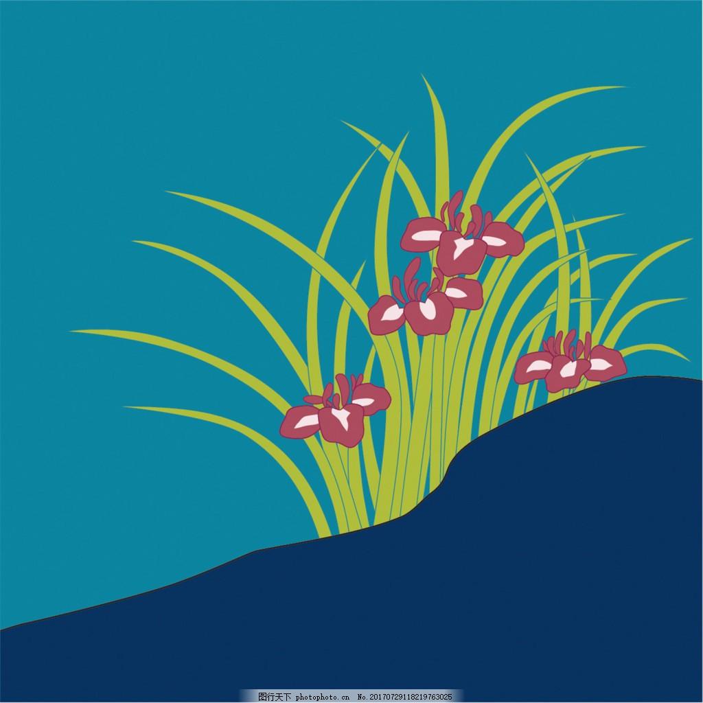 双拼色兰花背景图 广告设计 广告背景图 背景图片下载 矢量背景图
