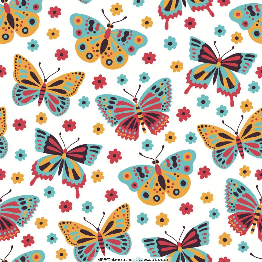 手绘彩色花朵蝴蝶无缝背景图 广告设计 广告背景图 背景图片下载