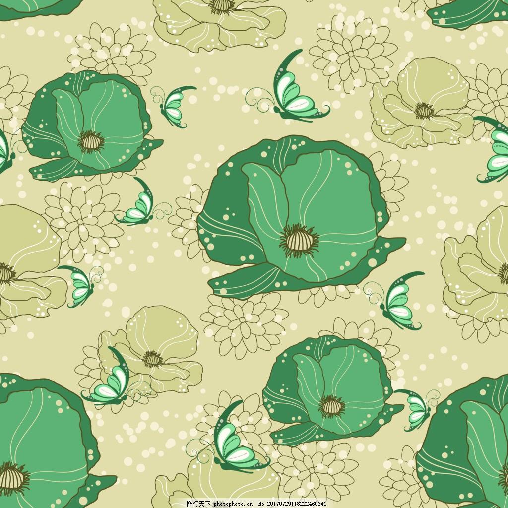 夏日荷叶背景矢量素材 手绘 绿色 花朵 蝴蝶 填充背景 平面设计素材
