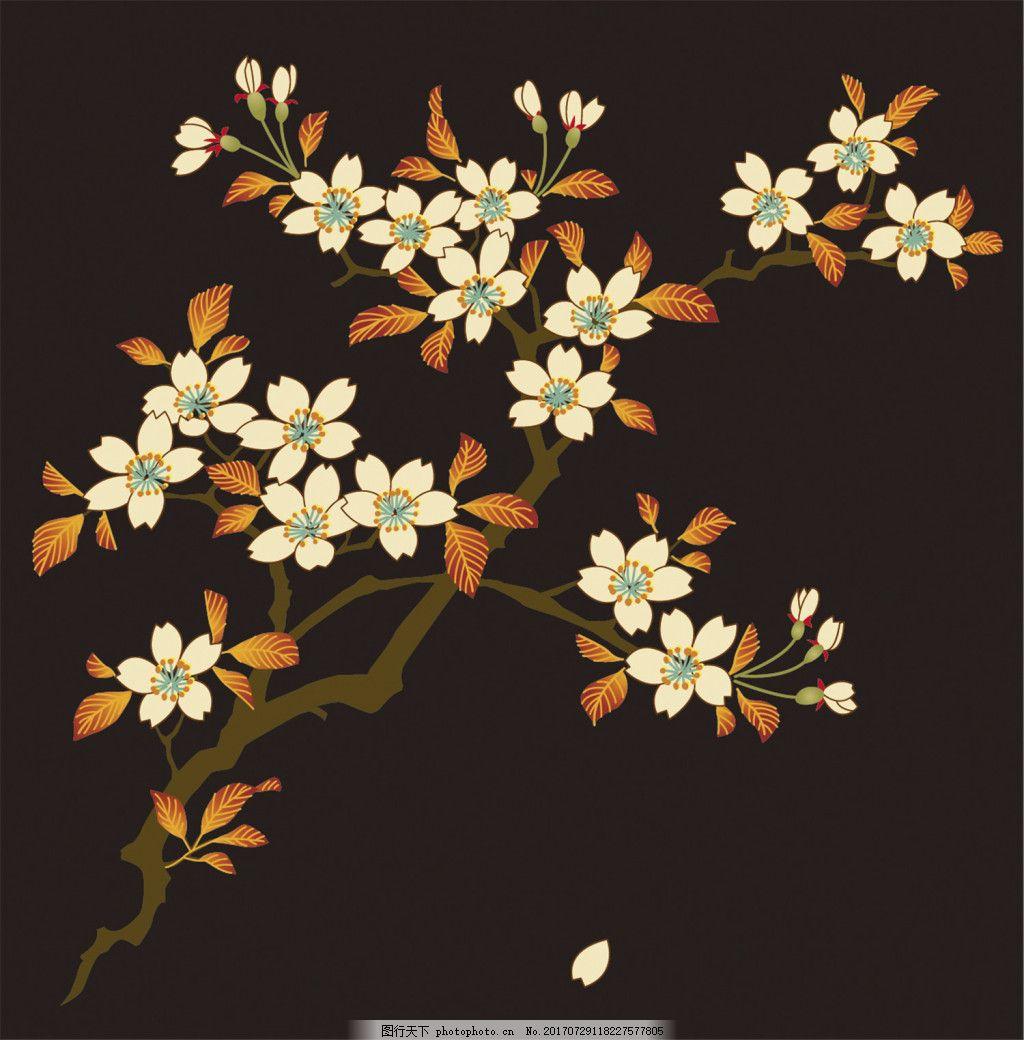 褐色花朵树枝背景图 广告设计 广告背景图 背景图片下载 矢量背景图