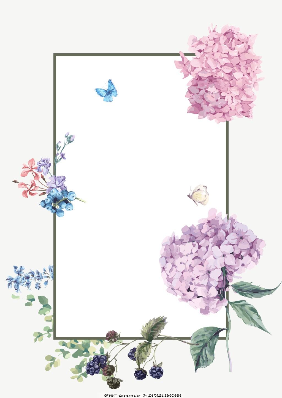 简约小清新花朵背景 文艺 方框 粉色花瓣 绿叶 果实 边框 背景素材