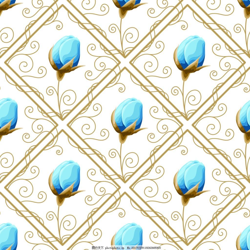 蓝色花骨朵蕾丝矢量背景 网格 花边 树枝 高端 可爱 卡通 平面设计