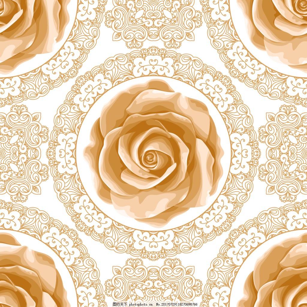 手绘复古拼接玫瑰花蕾丝矢量背景 蕾丝边 圆形 可爱 卡通 平面设计