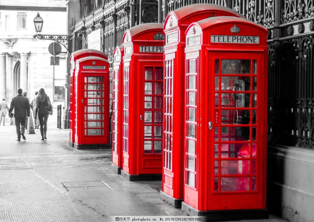 欧美街景电话亭背景 欧美 街边 红色 电话亭 路标 风景 复古 灰色背景