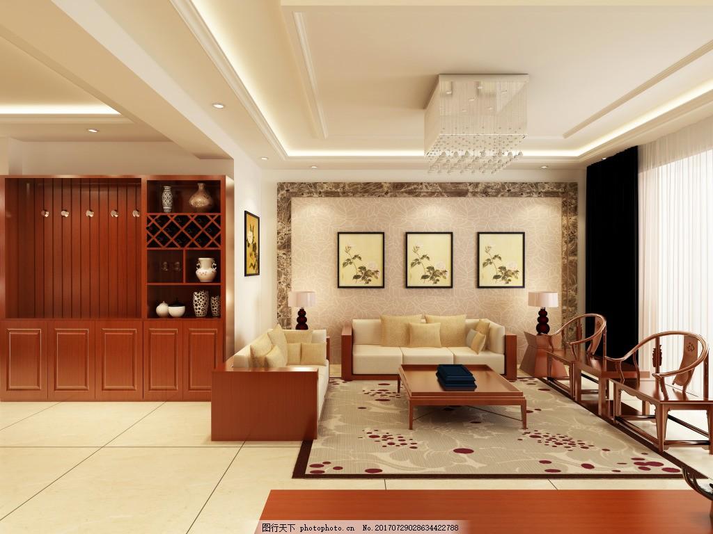 中式沙发背景墙效果图 家装效果图 空间建筑 装饰画 新中式家装效果图